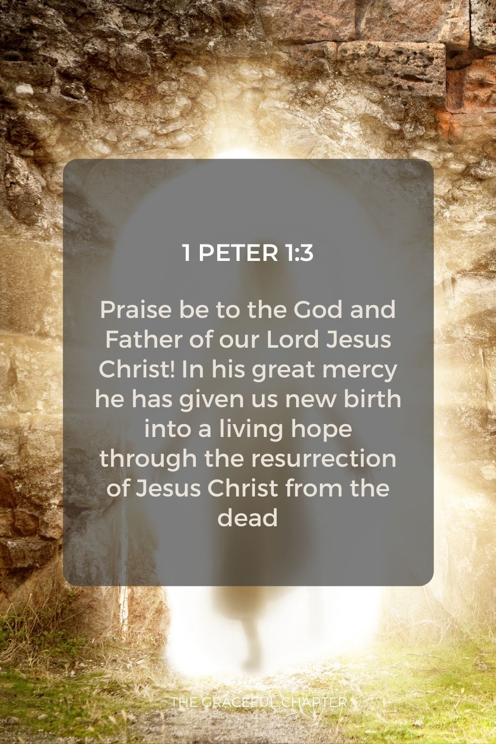 Praise be to the God and Father of our Lord Jesus Christ! In his great mercy he has given us new birth into a living hope through the resurrection of Jesus Christ from the dead 1 Peter 1:3