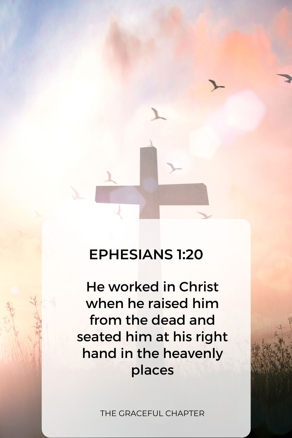 He worked in Christ when he raised him from the dead and seated him at his right hand in the heavenly places Ephesians 1:20