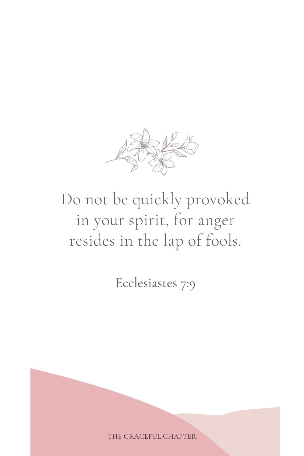 Do not be quickly provoked in your spirit, for anger resides in the lap of fools. Ecclesiastes 7:9
