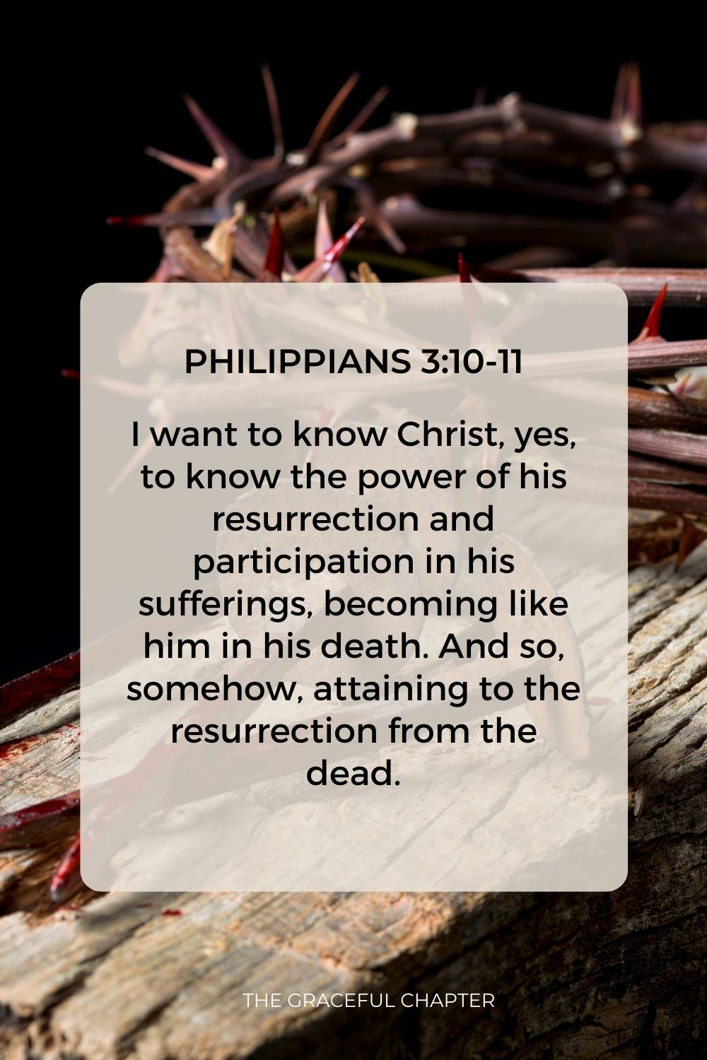 I want to know Christ, yes, to know the power of his resurrection and participation in his sufferings, becoming like him in his death. And so, somehow, attaining to the resurrection from the dead. Philippians 3:10-11