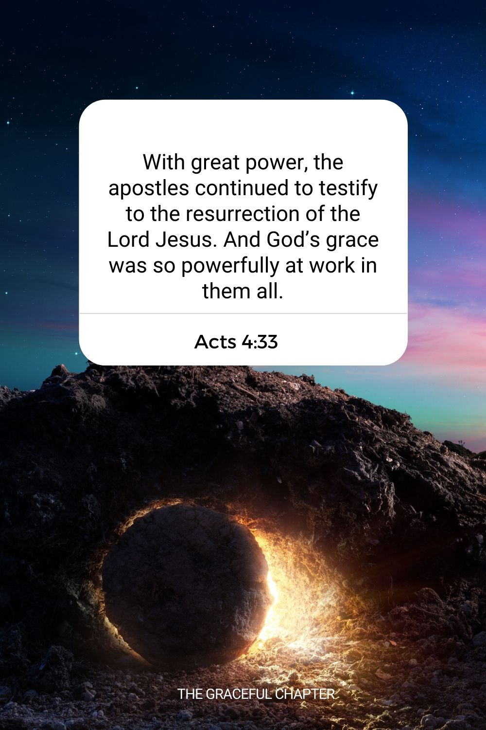 With great power, the apostles continued to testify to the resurrection of the Lord Jesus. And God's grace was so powerfully at work in them all. Acts 4:33
