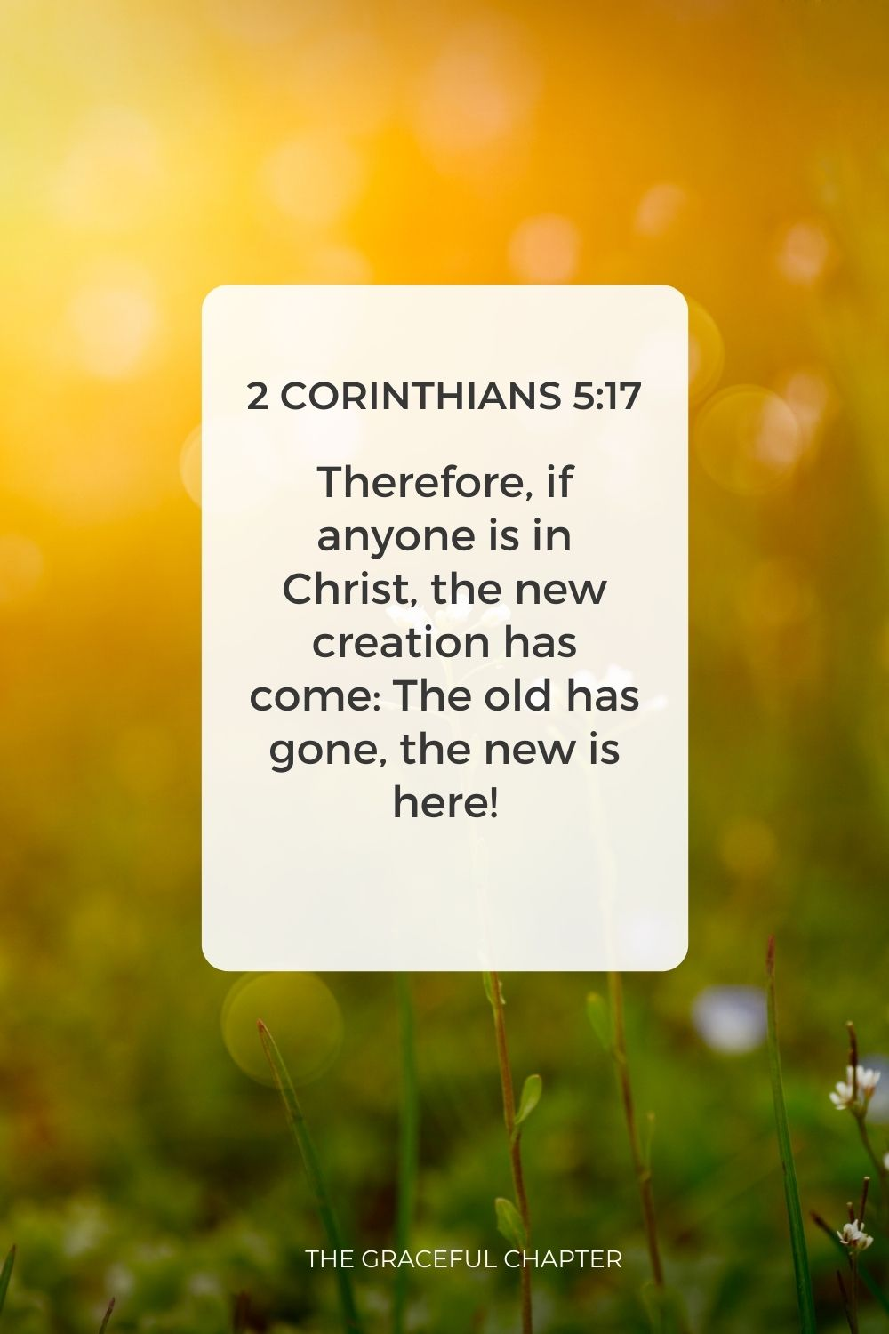 Therefore, if anyone is in Christ, the new creation has come: The old has gone, the new is here! 2 Corinthians 5:17