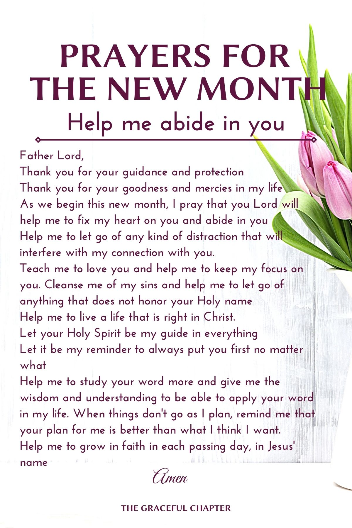 Prayers for the new month - Help me abide in you