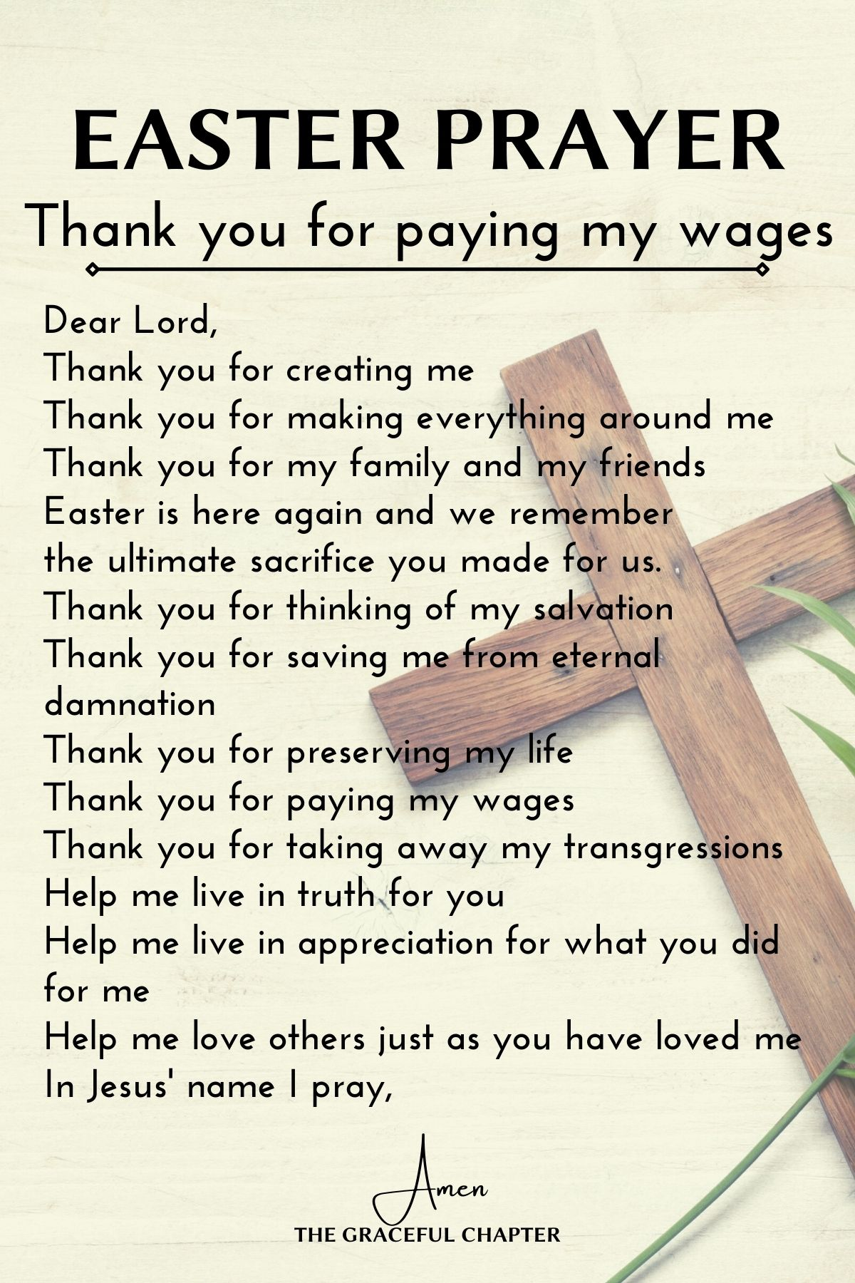 thank you for paying my wages - easter prayer