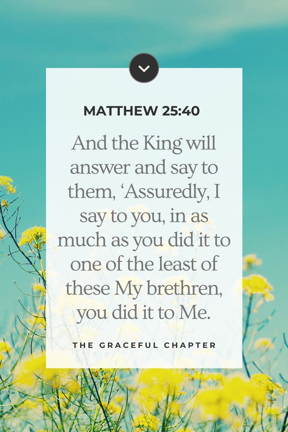 And the King will answer and say to them, 'Assuredly, I say to you, in as much as you did it to one of the least of these My brethren, you did it to Me.'