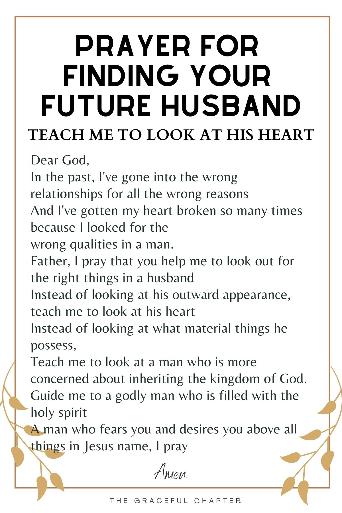 Prayer for finding a good husband - Teach me to look at his heart