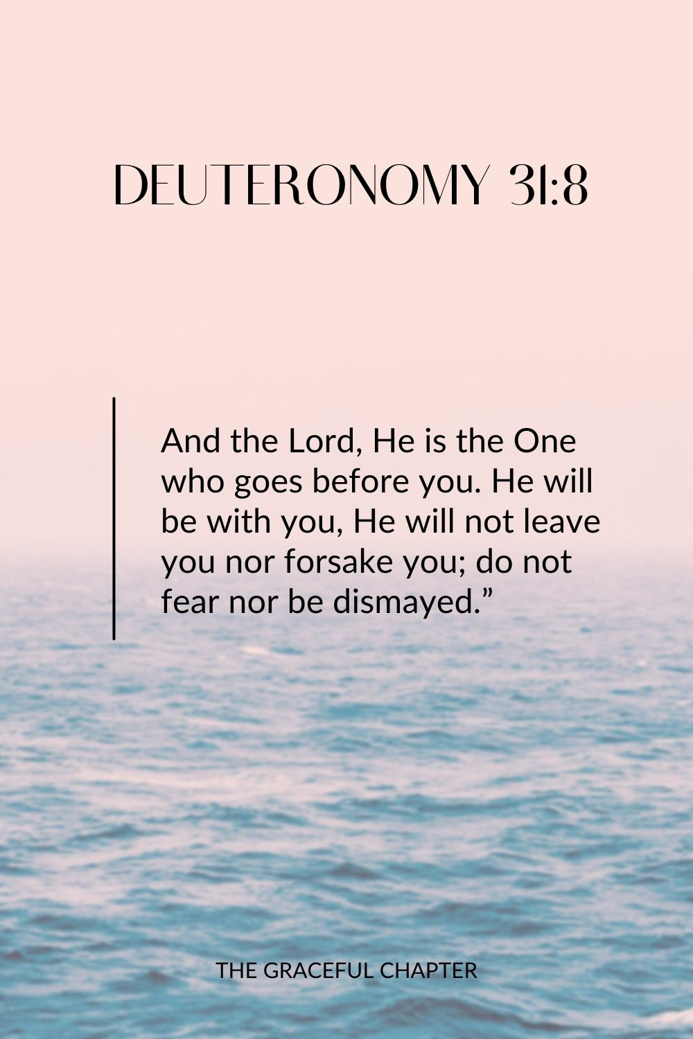 "And the Lord, He is the One who goes before you. He will be with you, He will not leave you nor forsake you; do not fear nor be dismayed."" Deuteronomy 31:8"