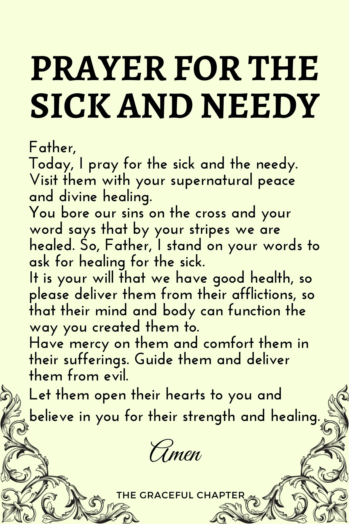Prayer for the sick and needy