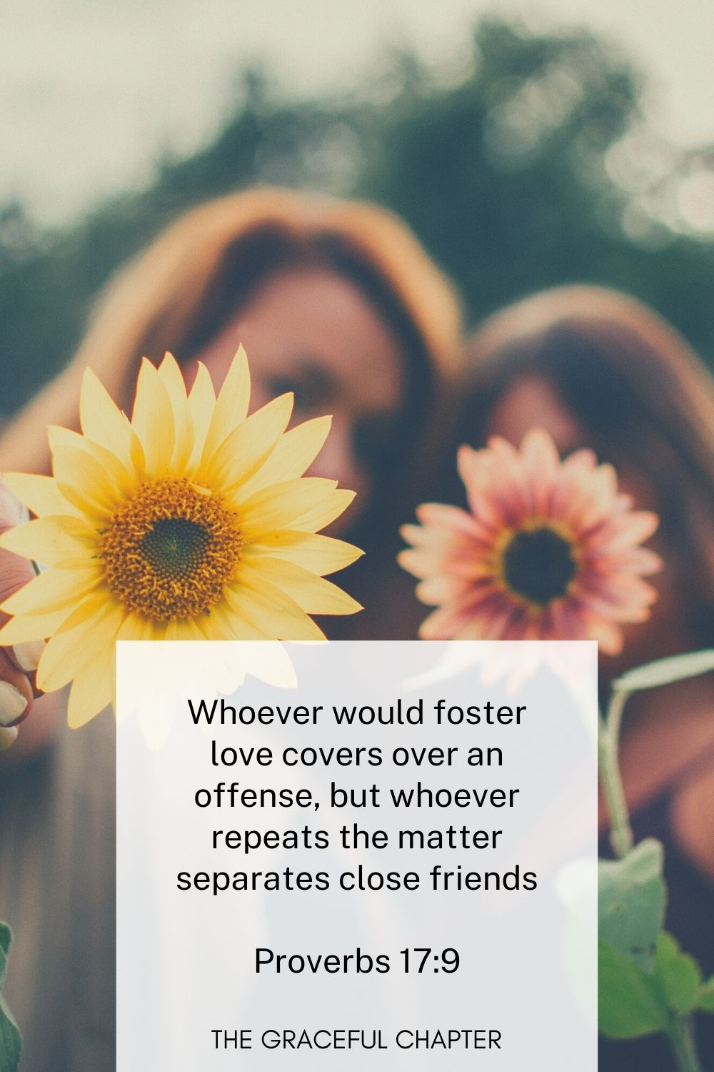 Whoever would foster love covers over an offense, but whoever repeats the matter separates close friends Proverbs 17:9