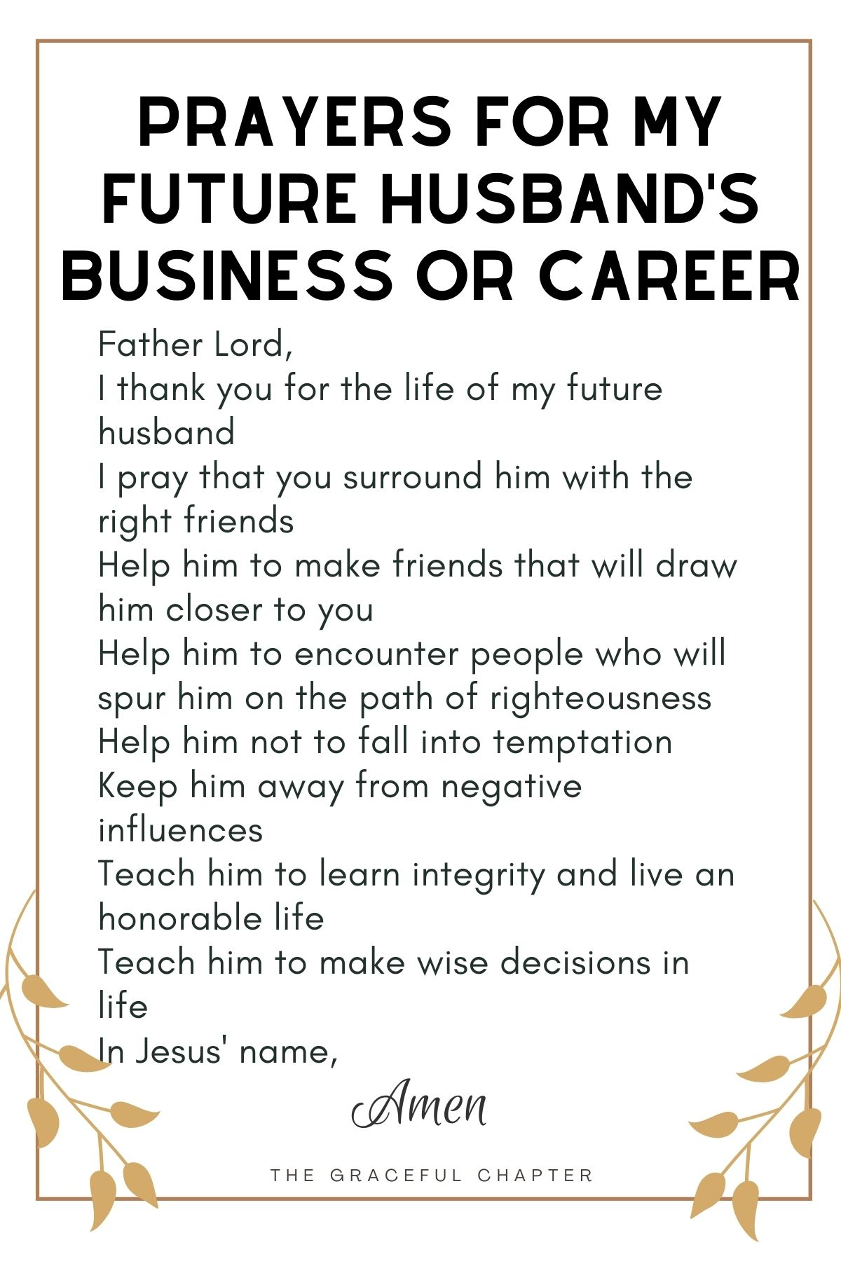 Prayer for my future husband's business or career