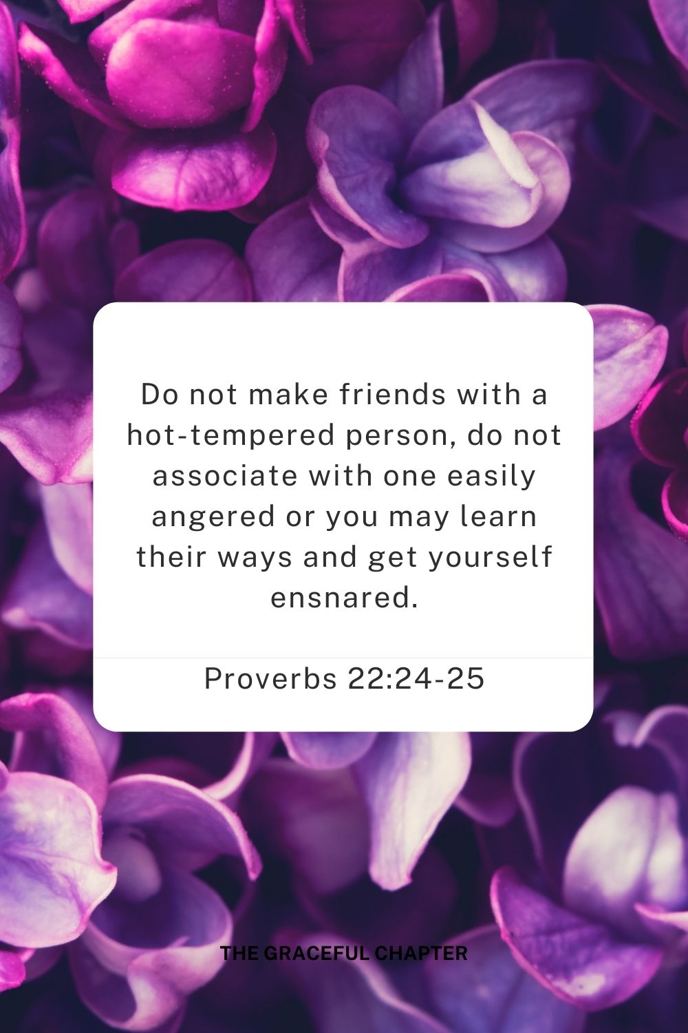 Do not make friends with a hot-tempered person, do not associate with one easily angered or you may learn their ways and get yourself ensnared. Proverbs 22:24-25