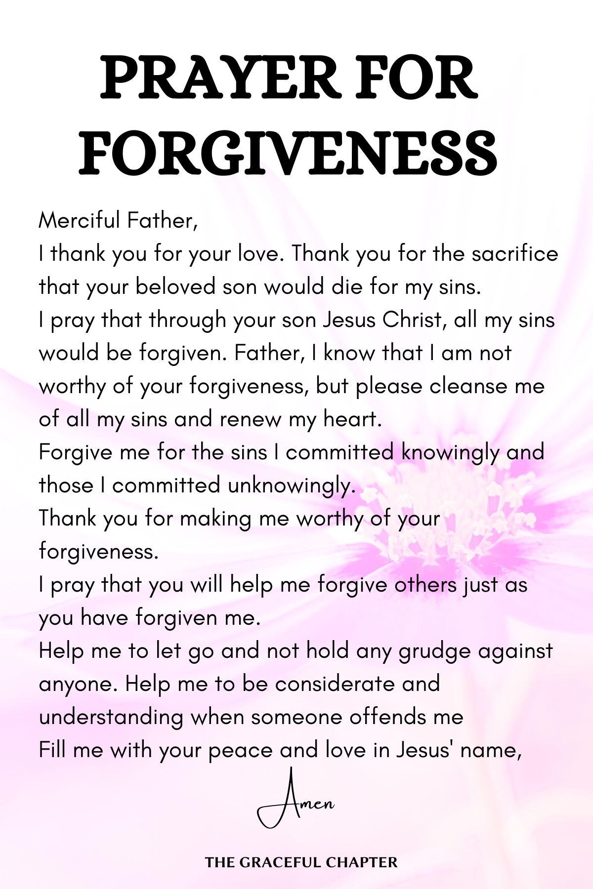 Prayer for forgiveness