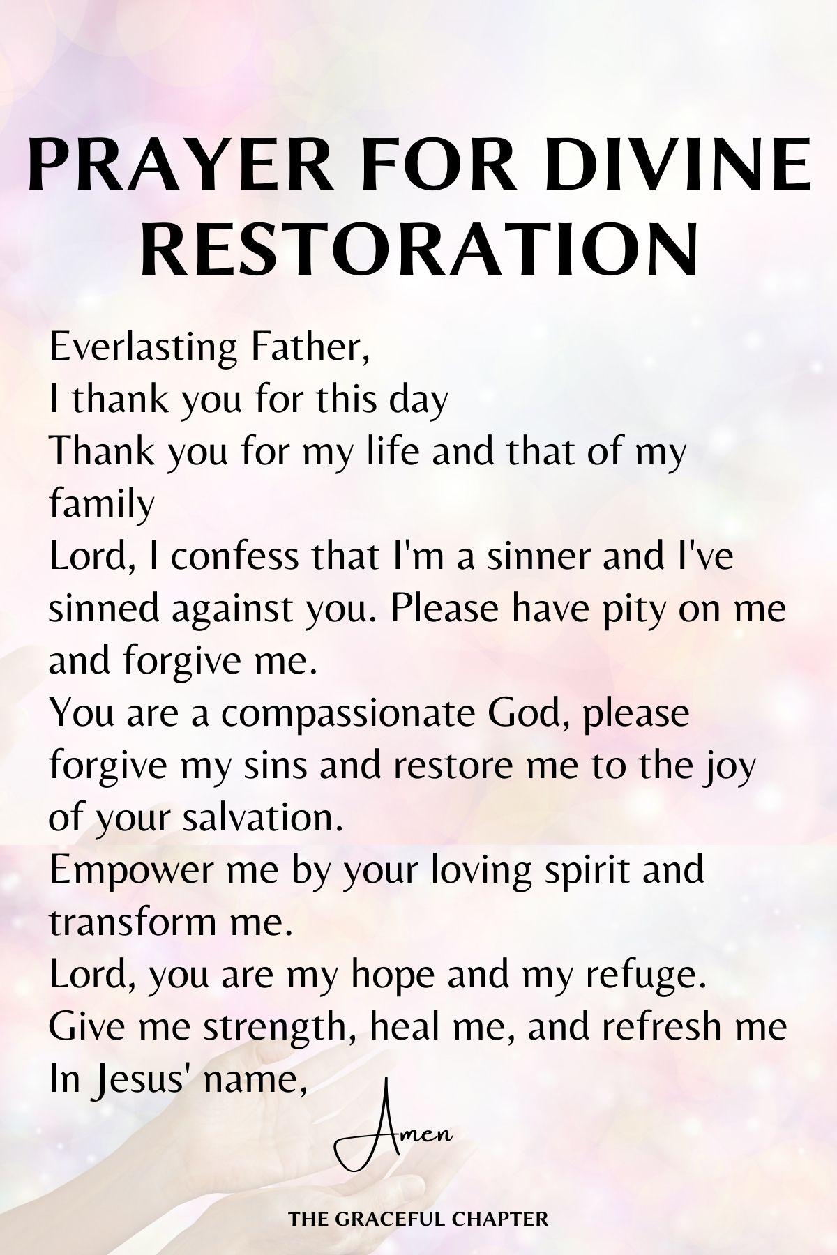 Prayer for divine restoration - Prayers for healing