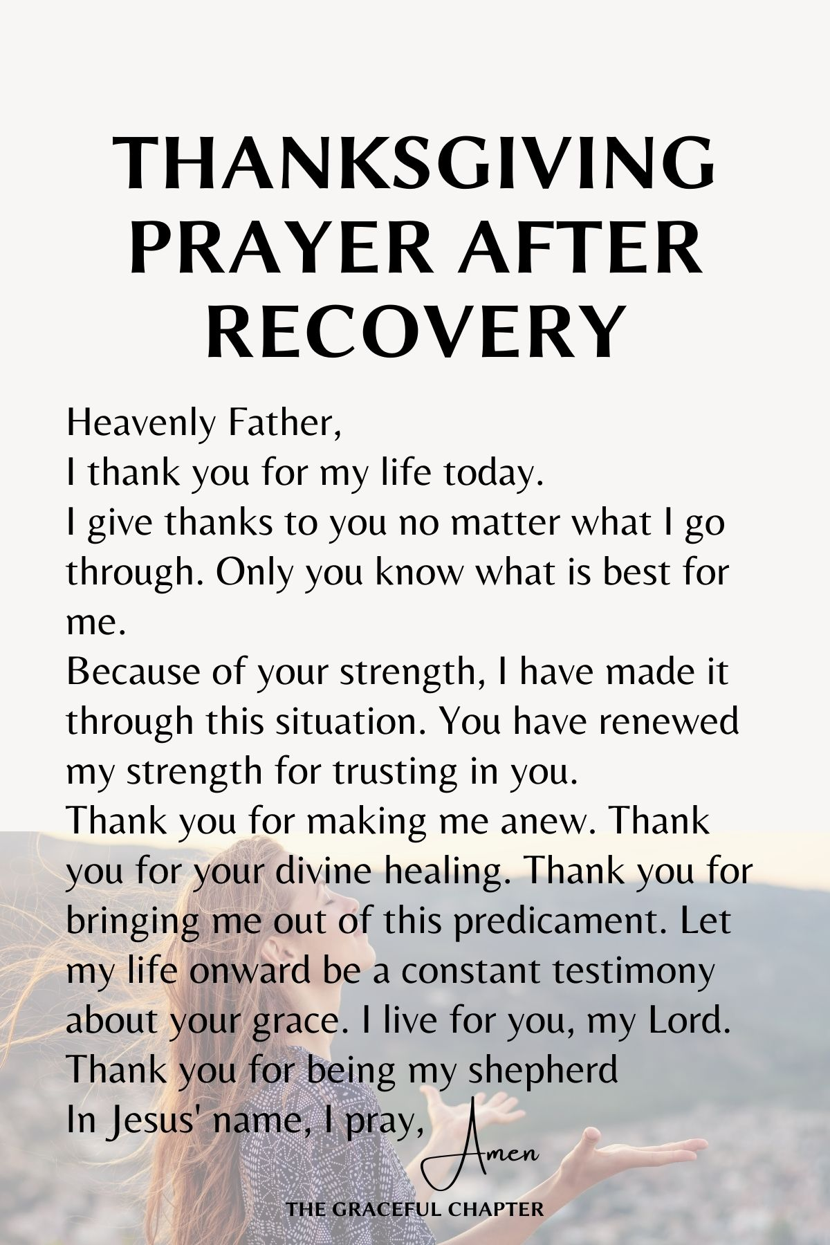 Thanksgiving prayer after recovery