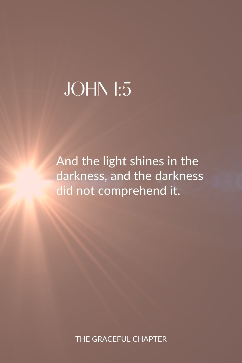 And the light shines in the darkness, and the darkness did not comprehend it. John 1:5