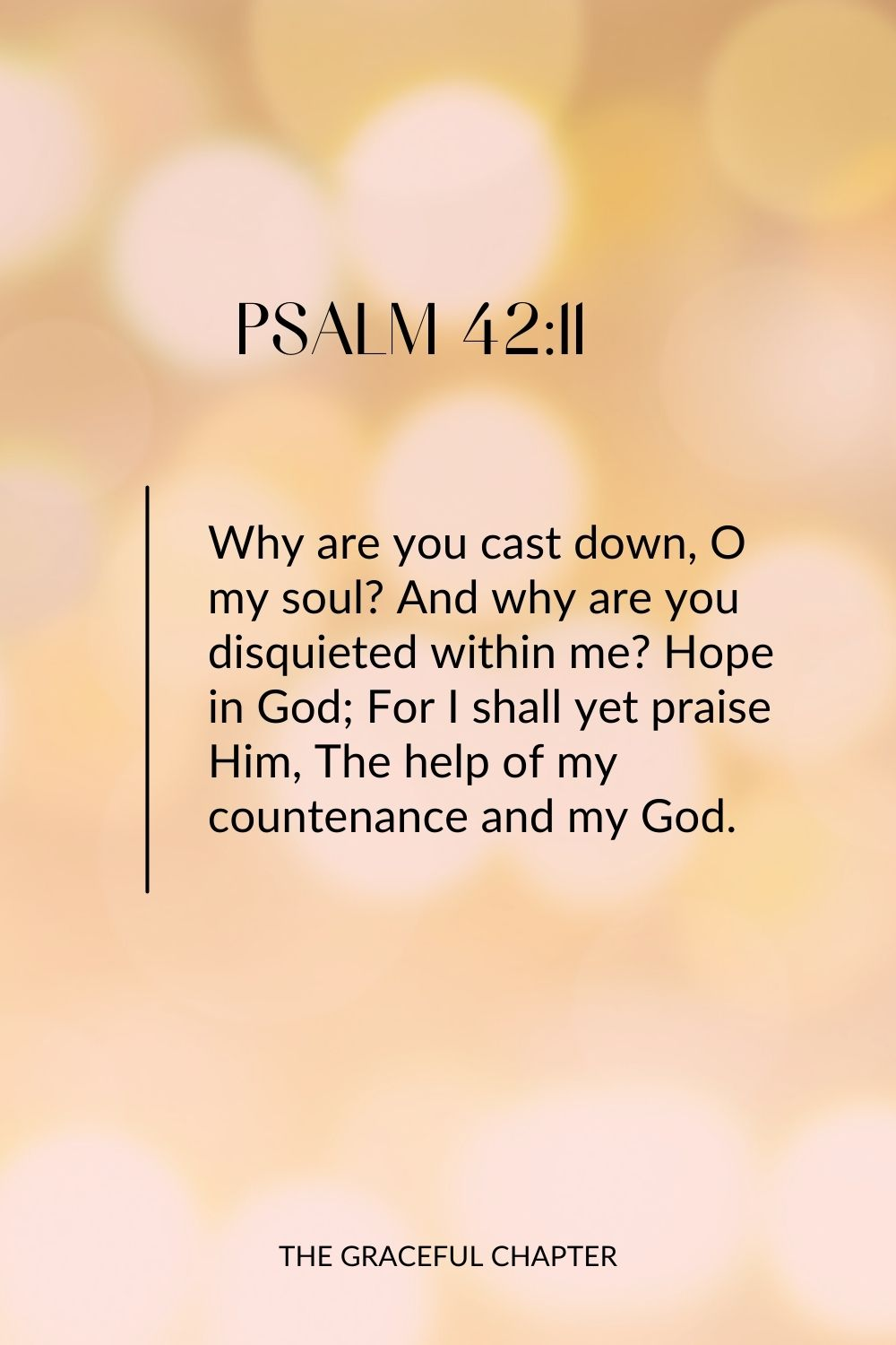 Why are you cast down, O my soul? And why are you disquieted within me? Hope in God; For I shall yet praise Him, The help of my countenance and my God. Psalm 42:11