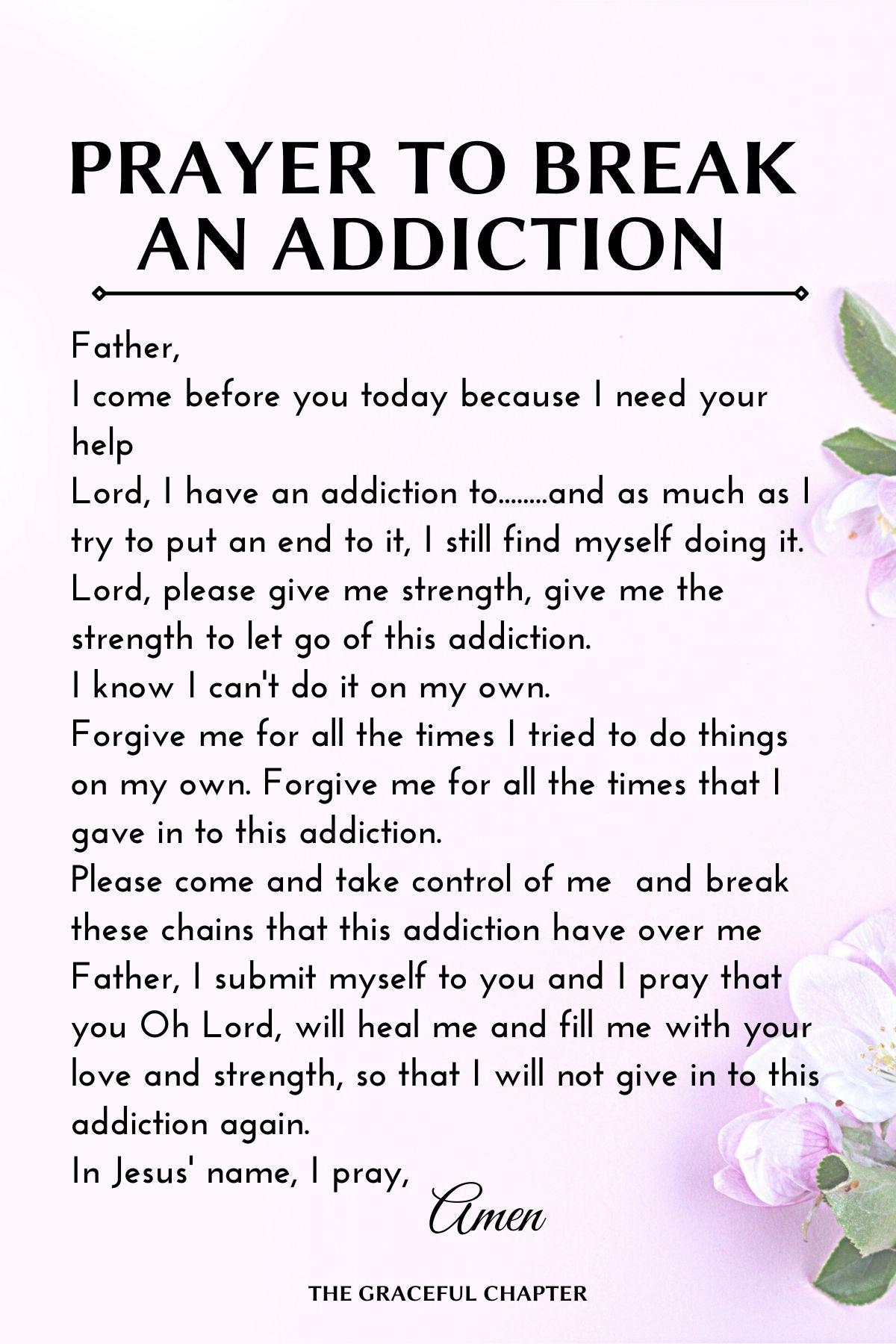 prayer to break an addiction