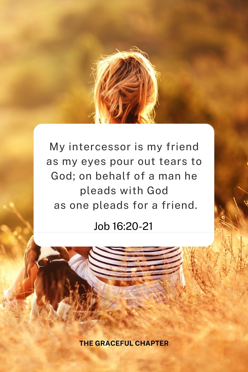 My intercessor is my friend as my eyes pour out tears to God; on behalf of a man he pleads with God  as one pleads for a friend. Job 16:20-21