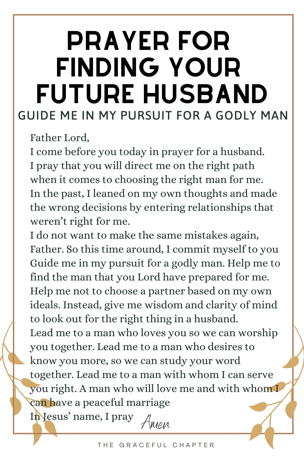 Guide me in my pursuit for a godly husband