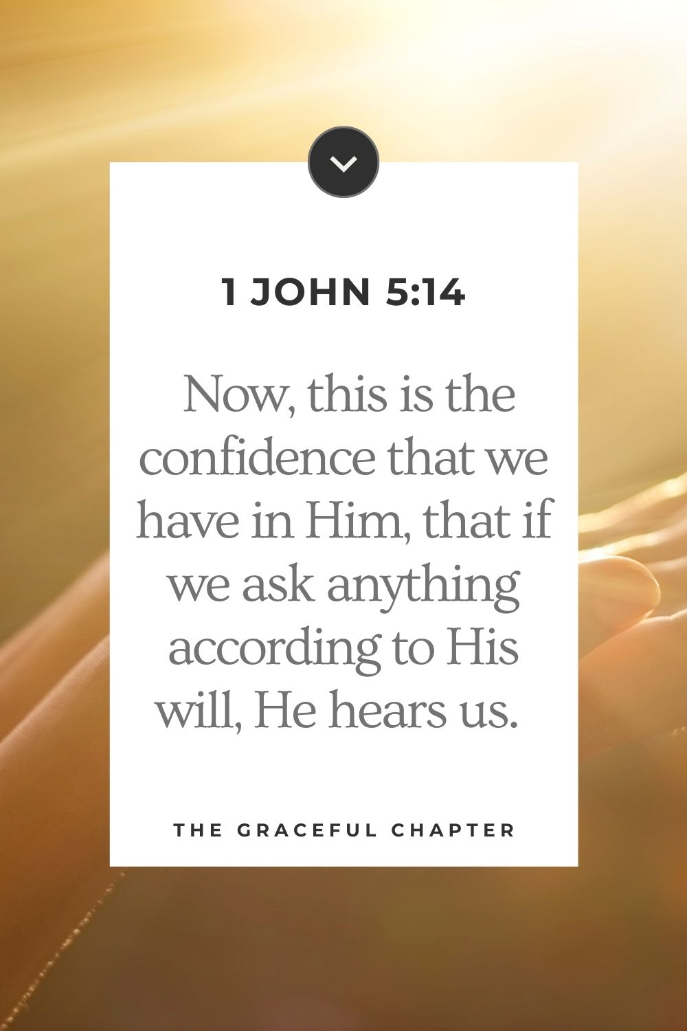 Now this is the confidence that we have in Him, that if we ask anything according to His will, He hears us.