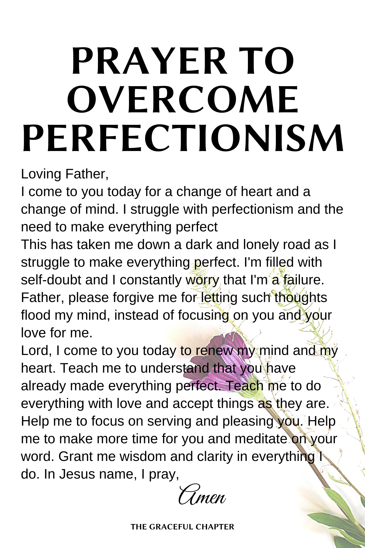 Prayer to overcome perfectionism