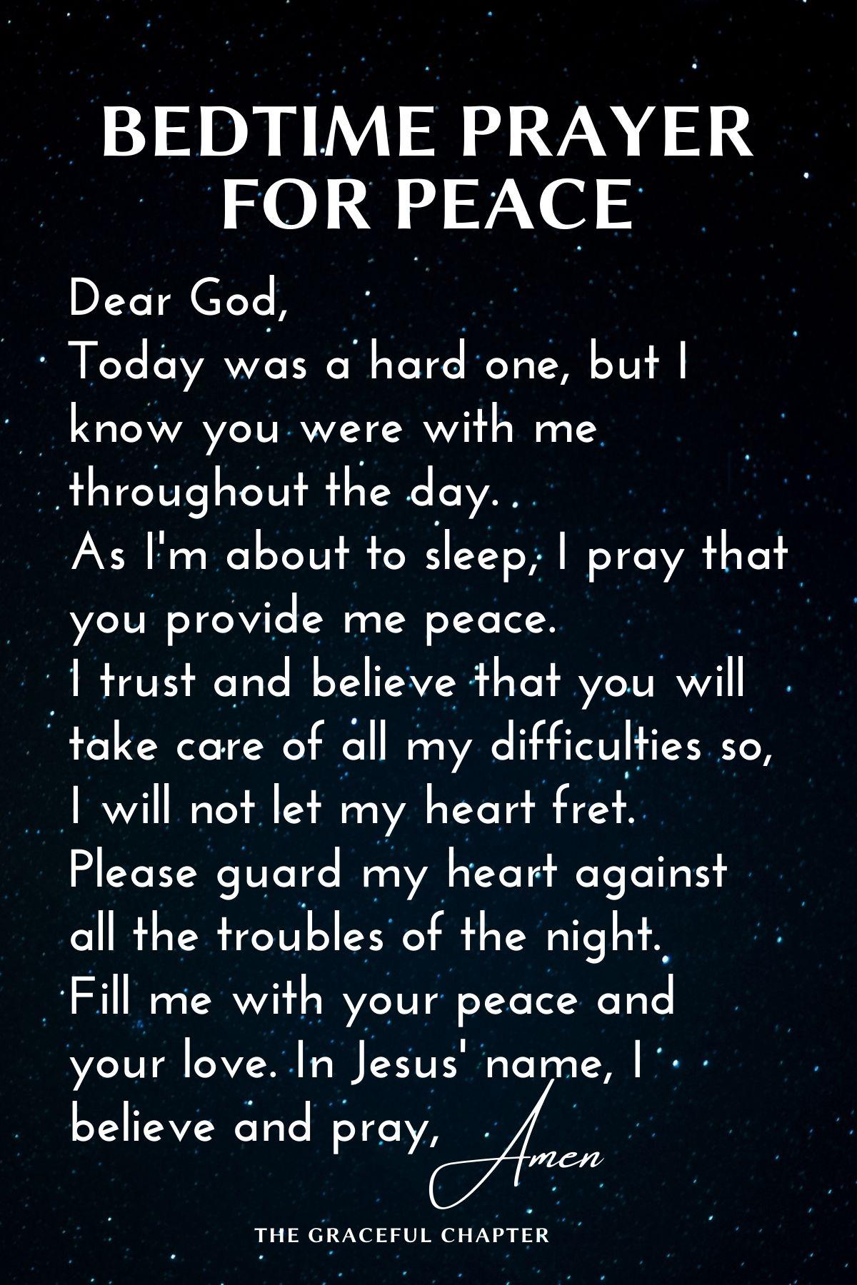 Bedtime prayer for peace