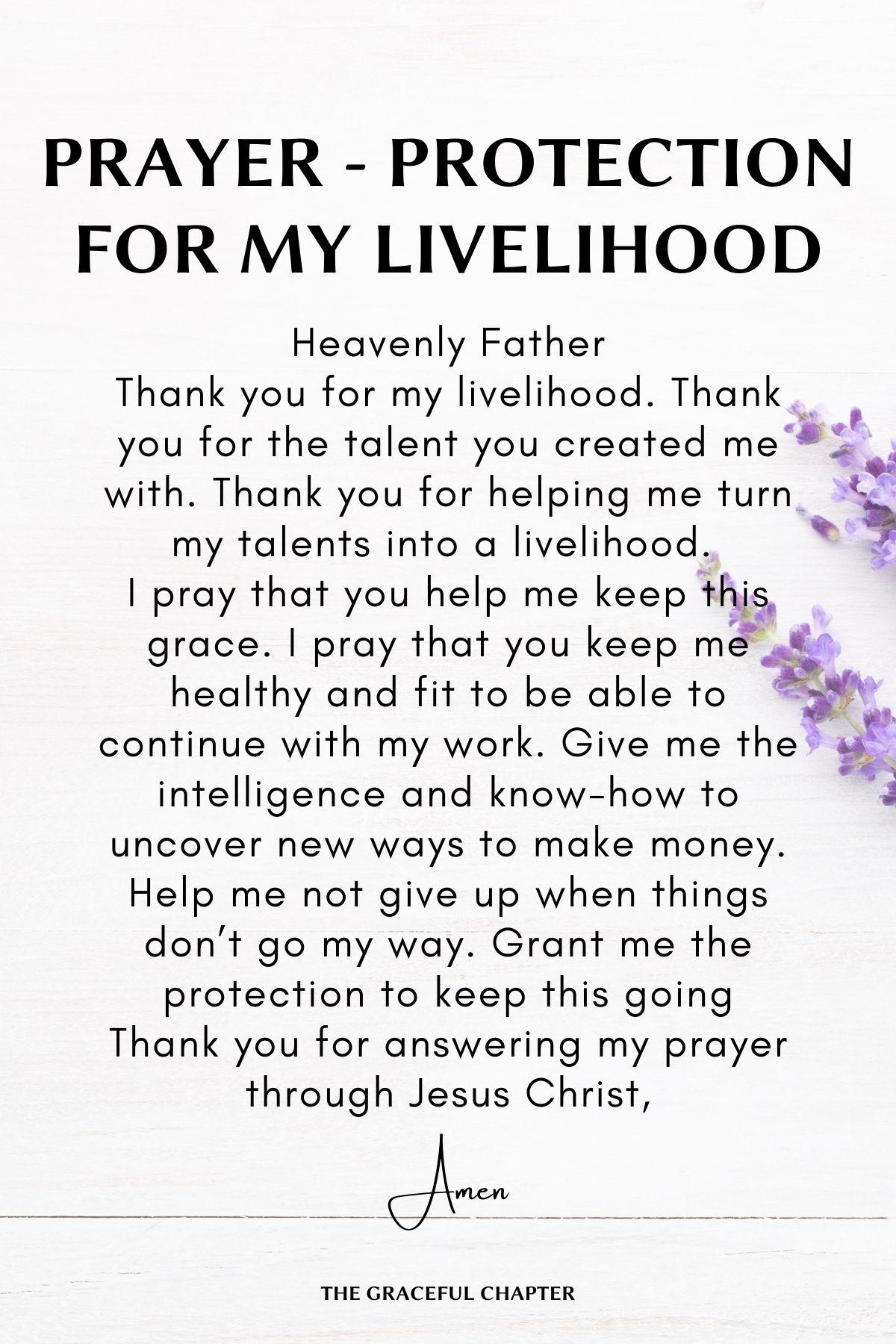 Prayers for Protection for livelihood