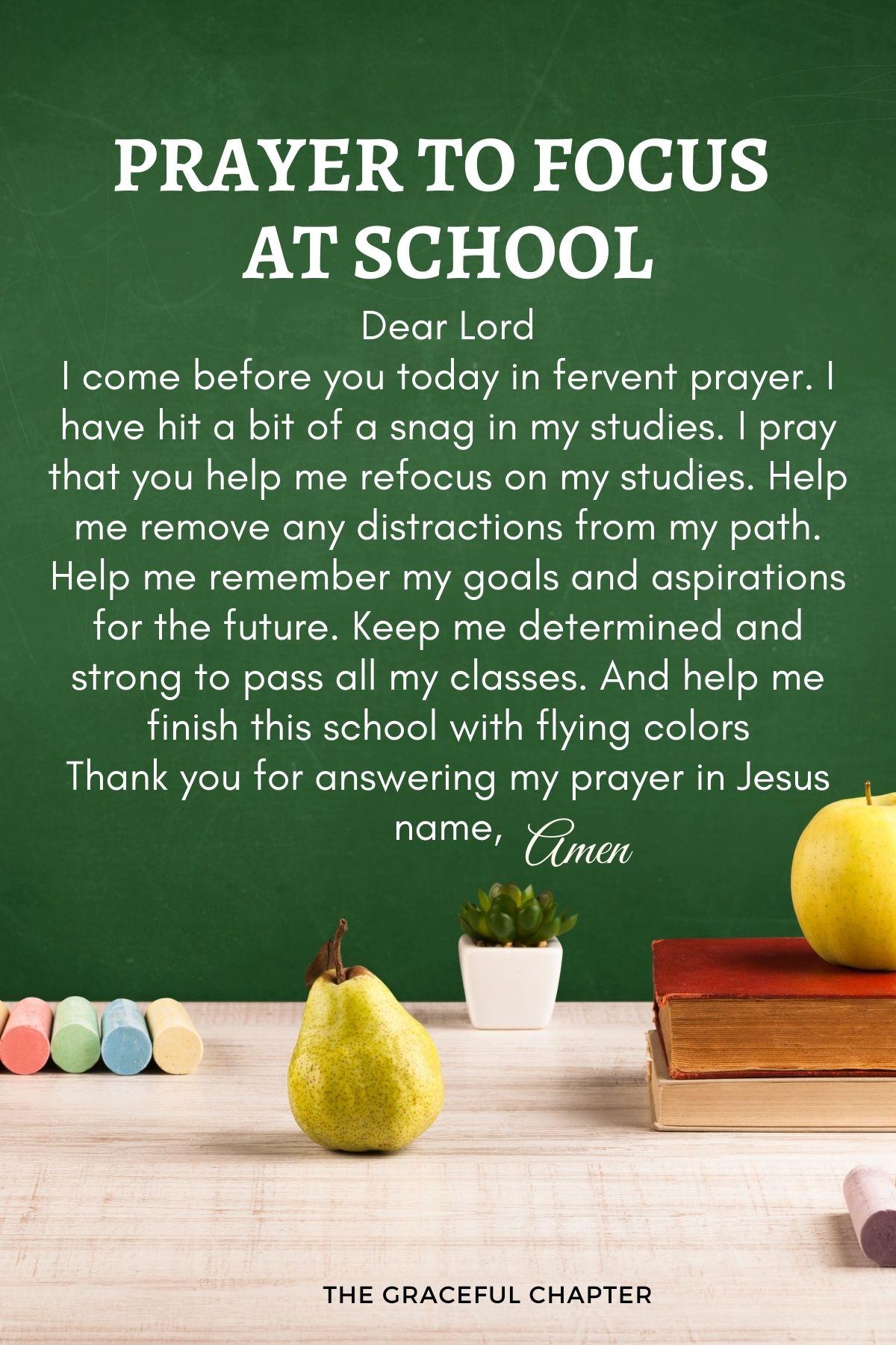 Prayers for school - Prayer to focus at school