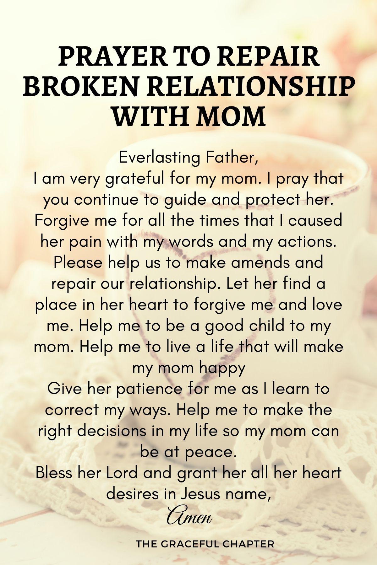 Prayer to repair broken relationship with mom