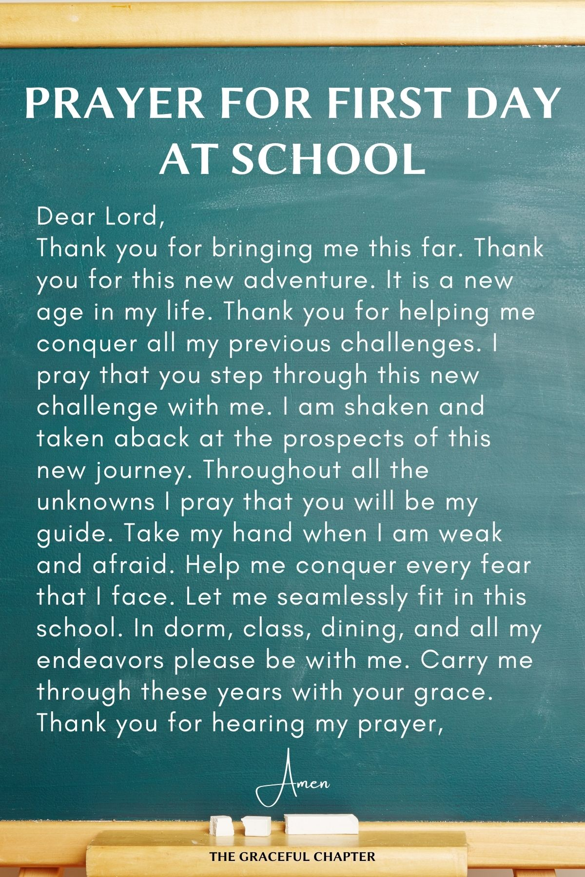 Prayer for first day at school