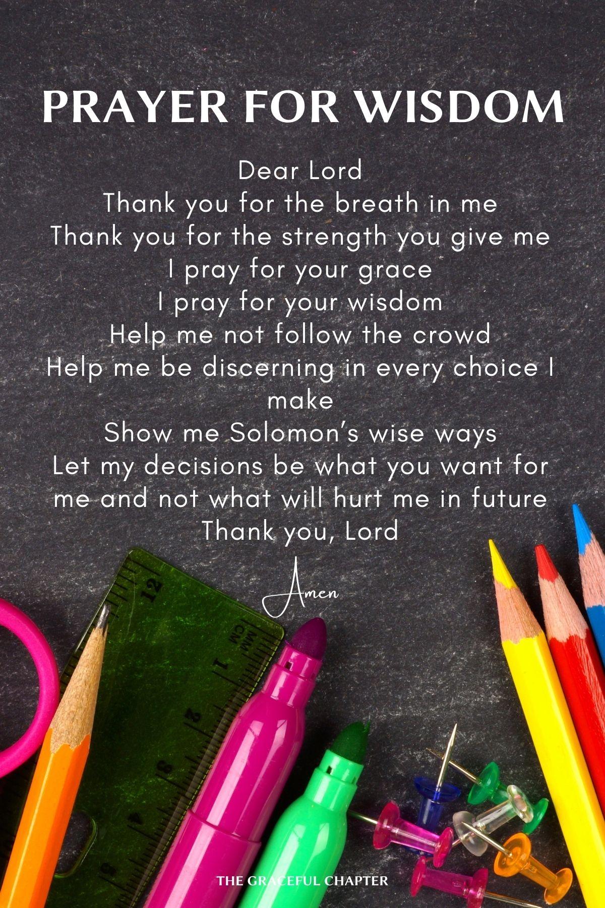 Prayers for School - Prayer for wisdom