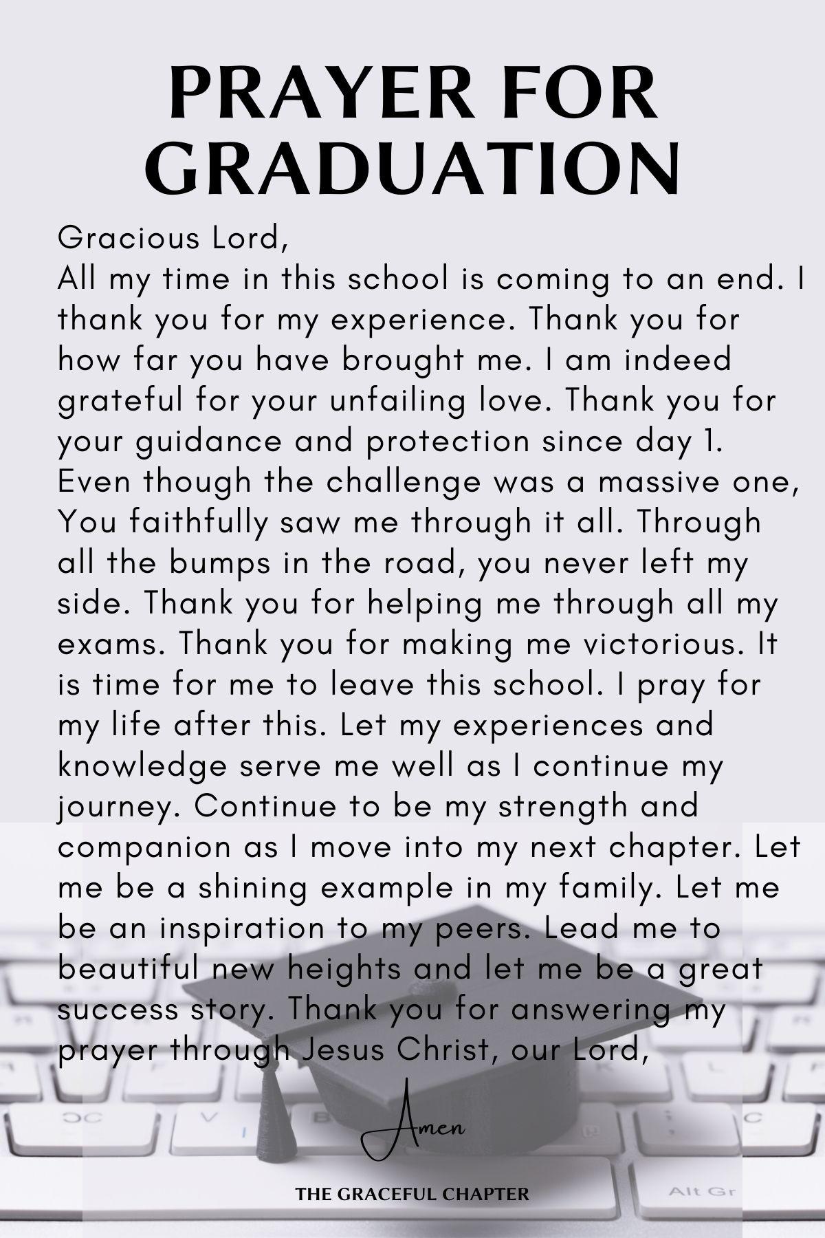 Prayer for graduation