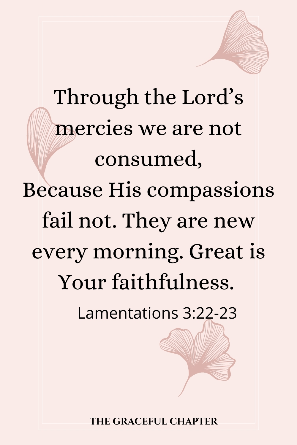 Through the Lord's mercies we are not consumed, Because His compassion fail not. They are new every morning. Great is Your faithfulness.  Lamentations 3:22-23