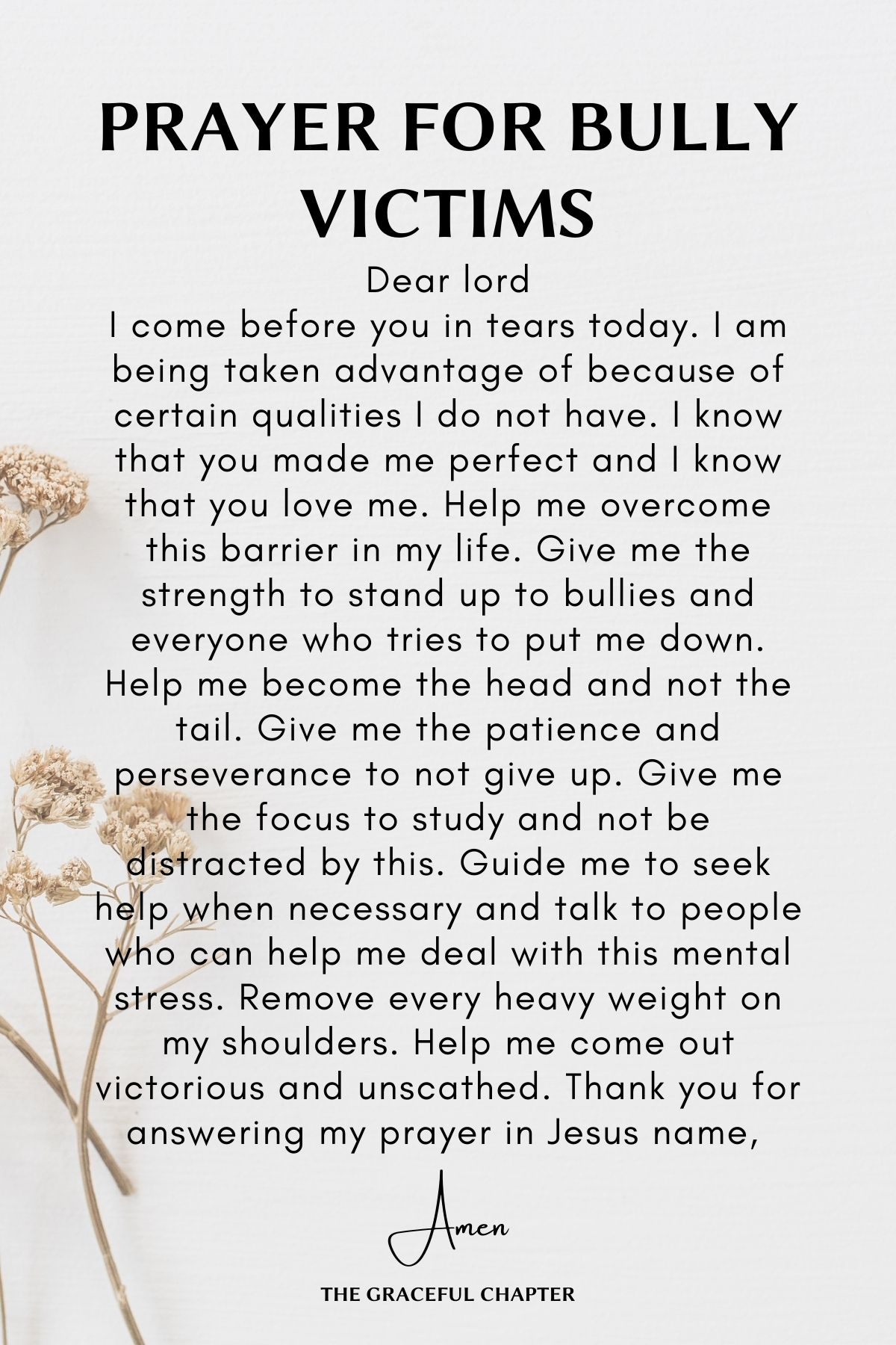 Prayer for bully victims