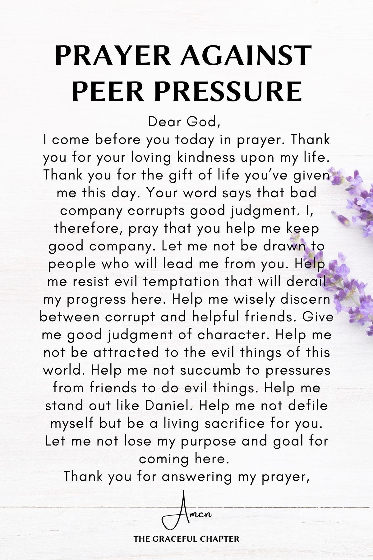 Prayer against peer pressure