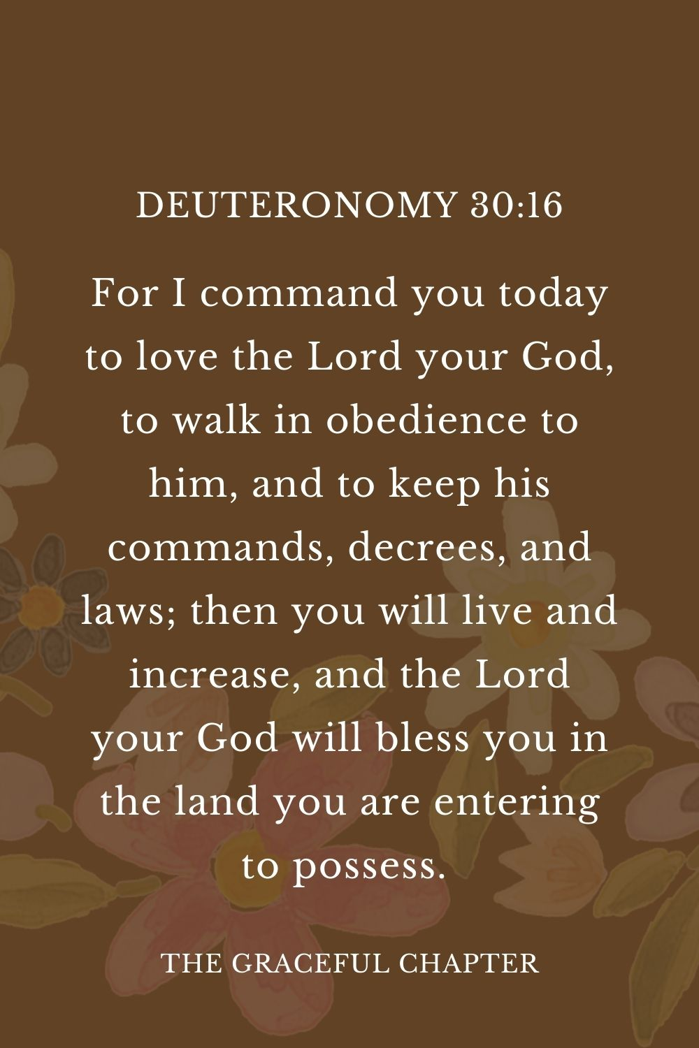 For I command you today to love the Lord your God, to walk in obedience to him, and to keep his commands, decrees, and laws; then you will live and increase, and the Lord your God will bless you in the land you are entering to possess.  Deuteronomy 30:16