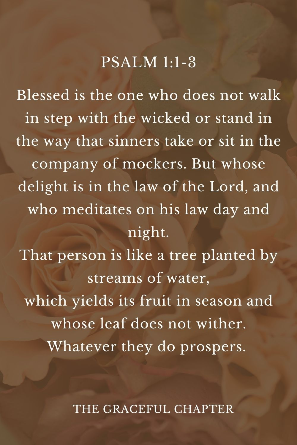 Blessed is the one who does not walk in step with the wicked or stand in the way that sinners take or sit in the company of mockers. But whose delight is in the law of the Lord, and who meditates on his law day and night. That person is like a tree planted by streams of water, which yields its fruit in season and whose leaf does not wither. Whatever they do prospers.  Psalm 1:1-3