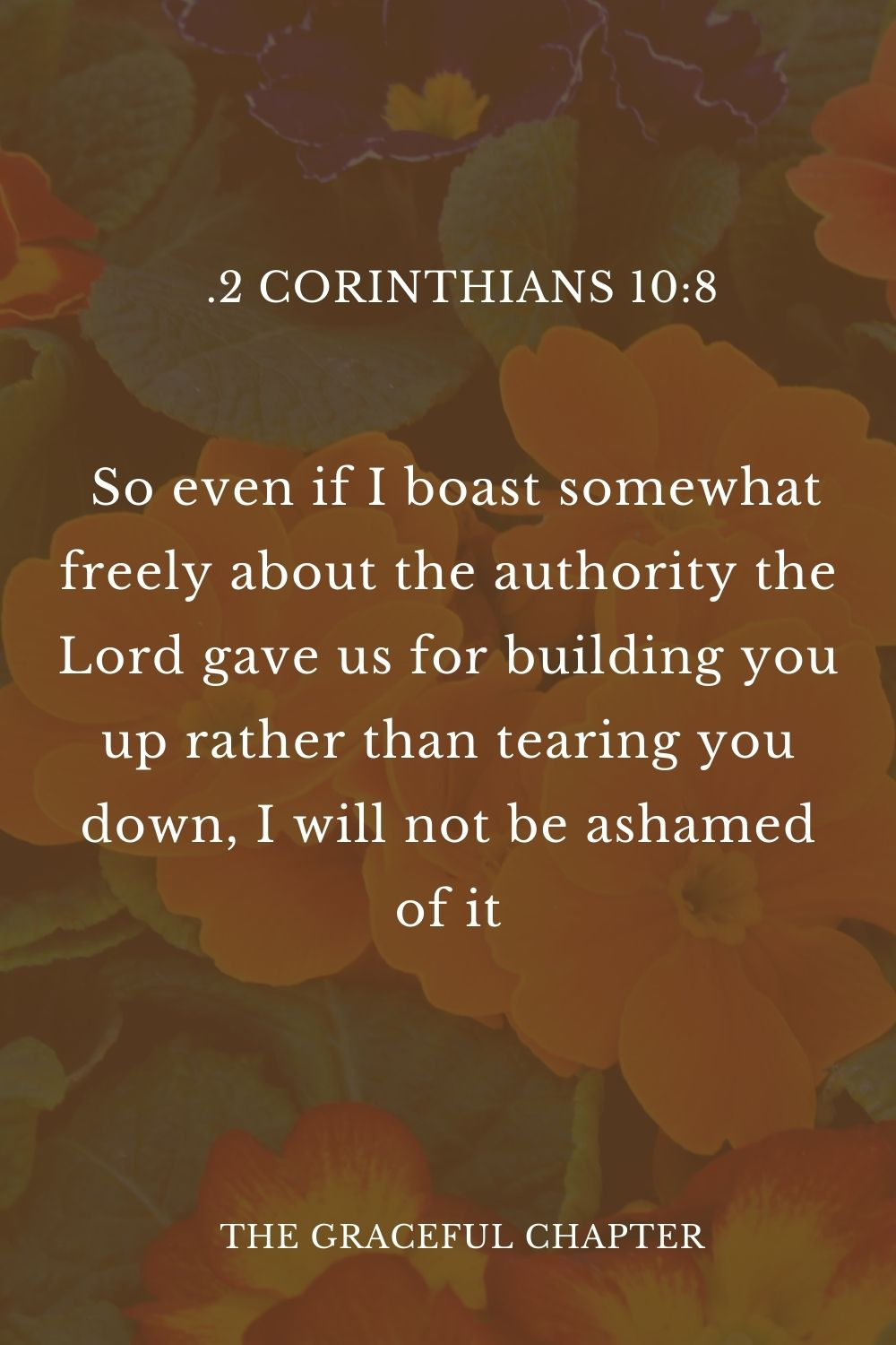 8 So even if I boast somewhat freely about the authority the Lord gave us for building you up rather than tearing you down, I will not be ashamed of it.2 Corinthians 10:8