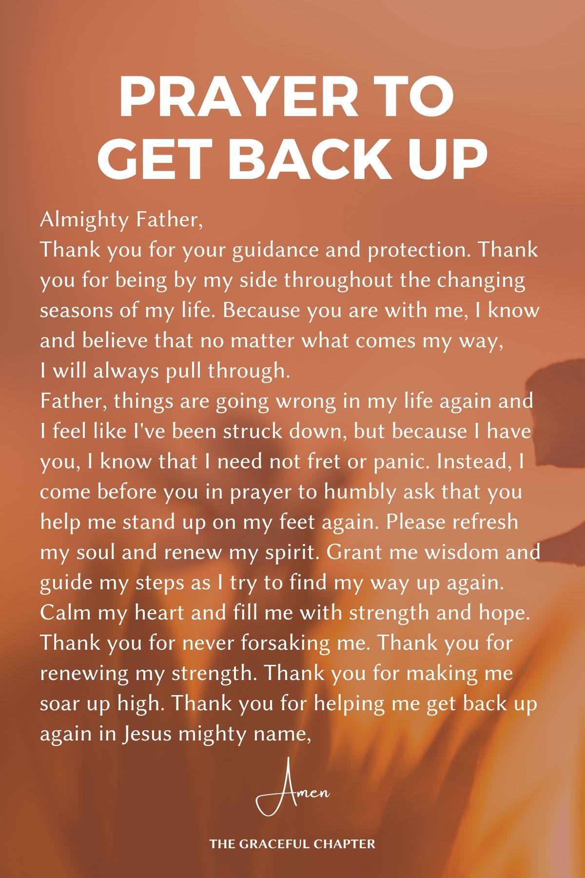 Prayer to get back up
