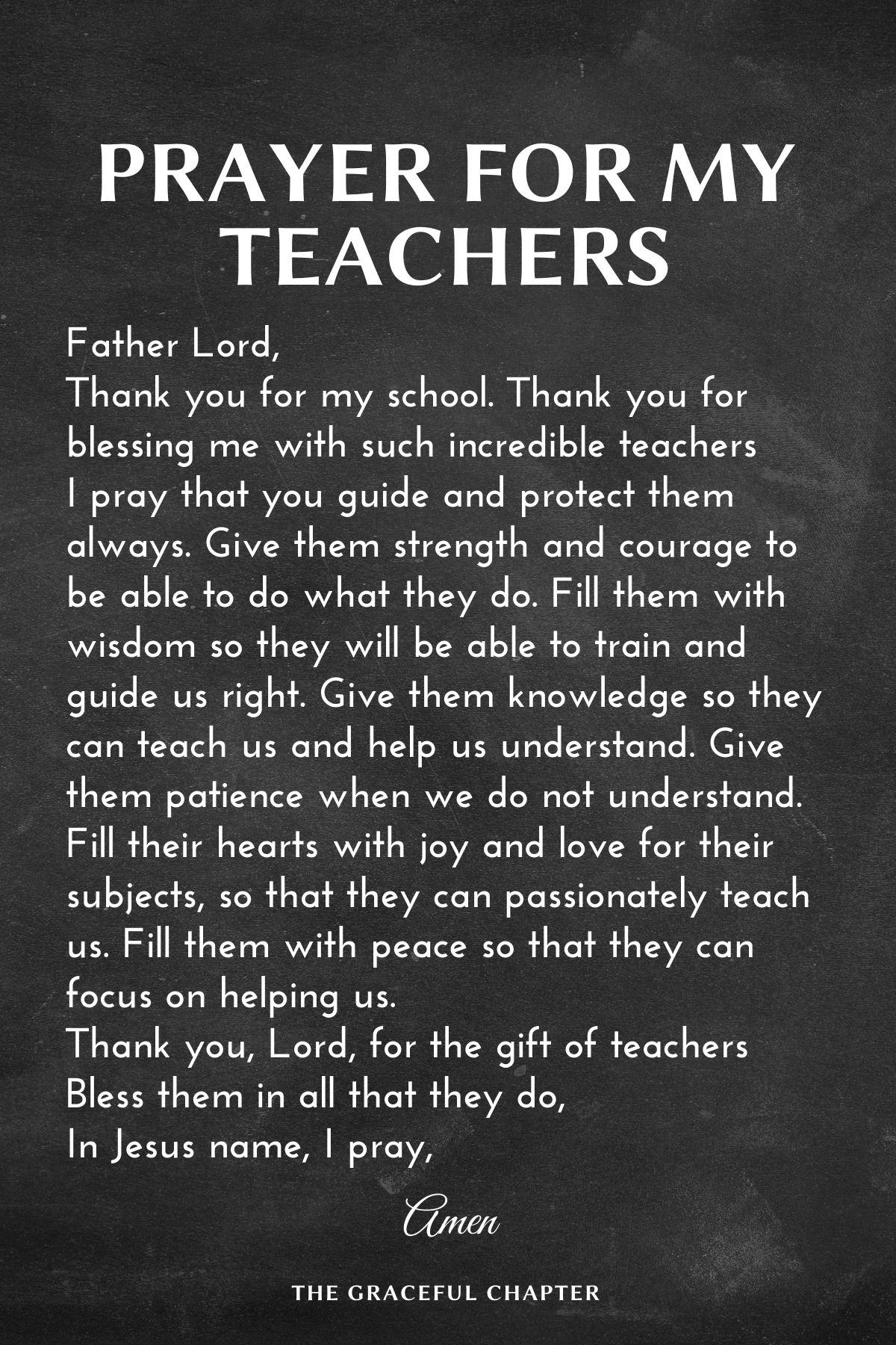 Prayer for my teachers