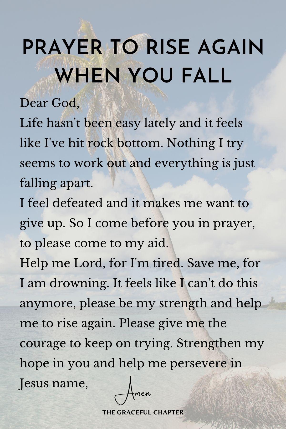 Prayer to rise again when you fall