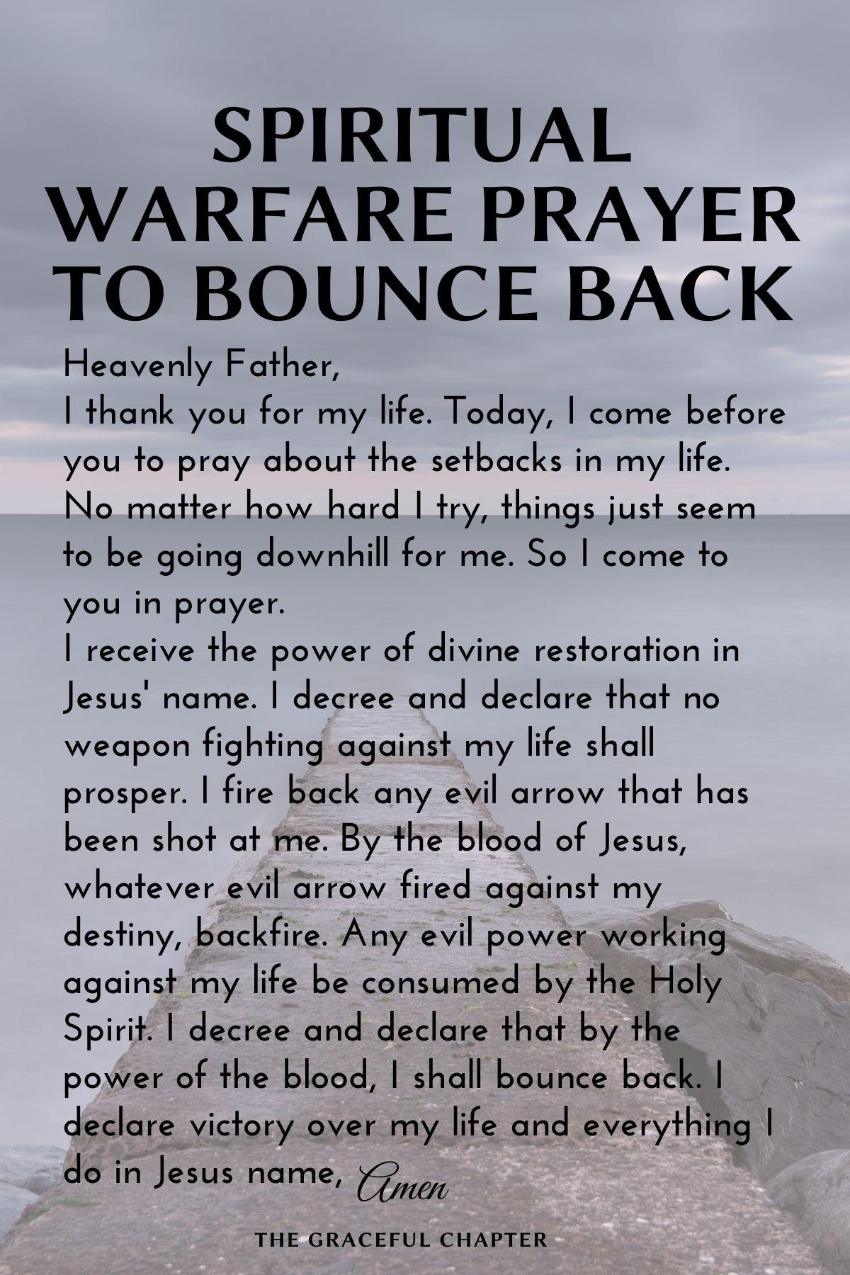 Spiritual warfare prayer to bounce back