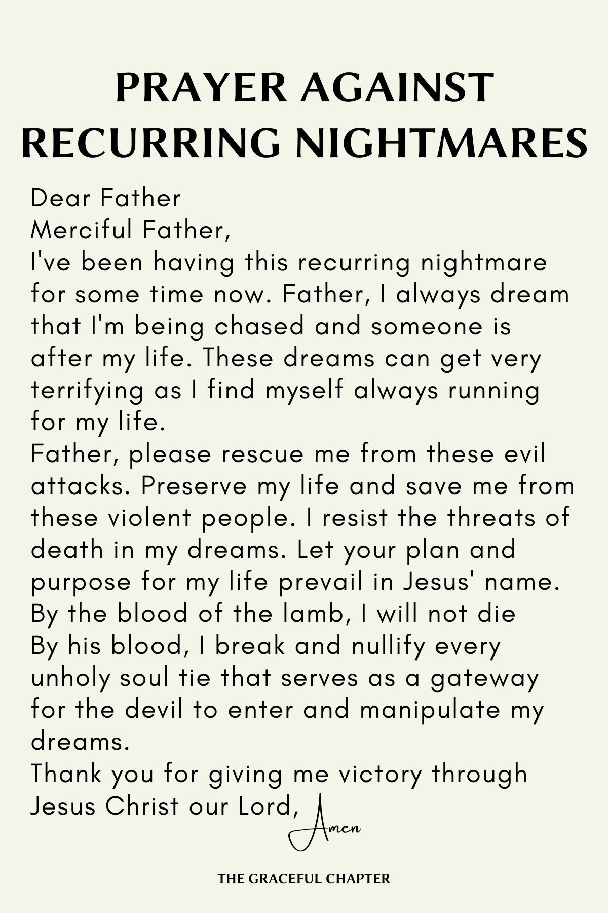 Prayer against recurring nightmares