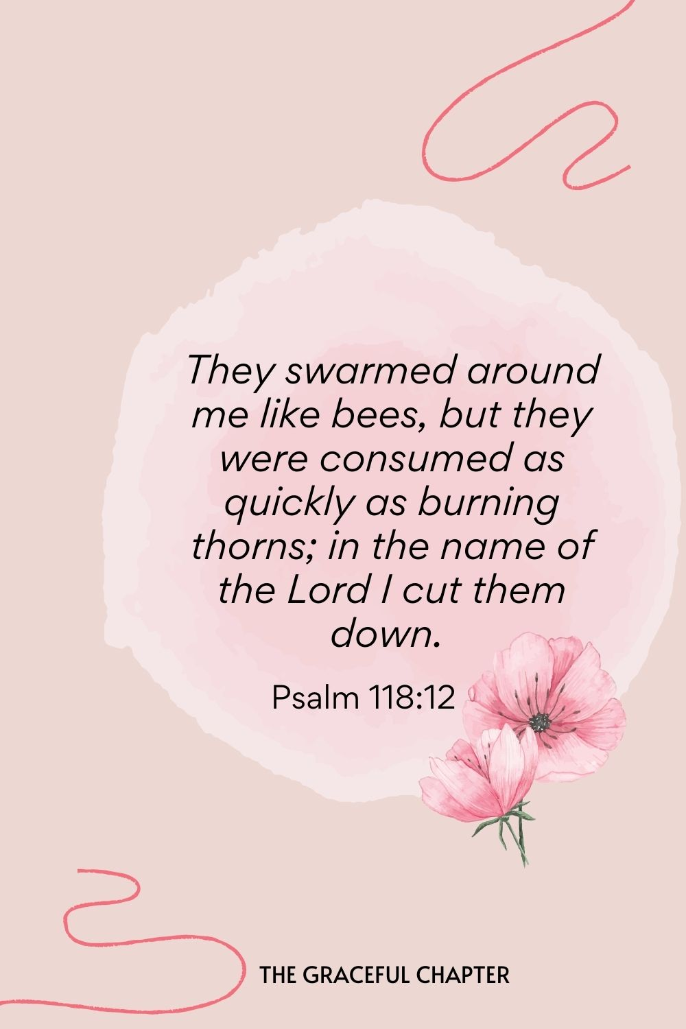 They swarmed around me like bees, but they were consumed as quickly as burning thorns; in the name of the Lord I cut them down.  Psalm 118:12