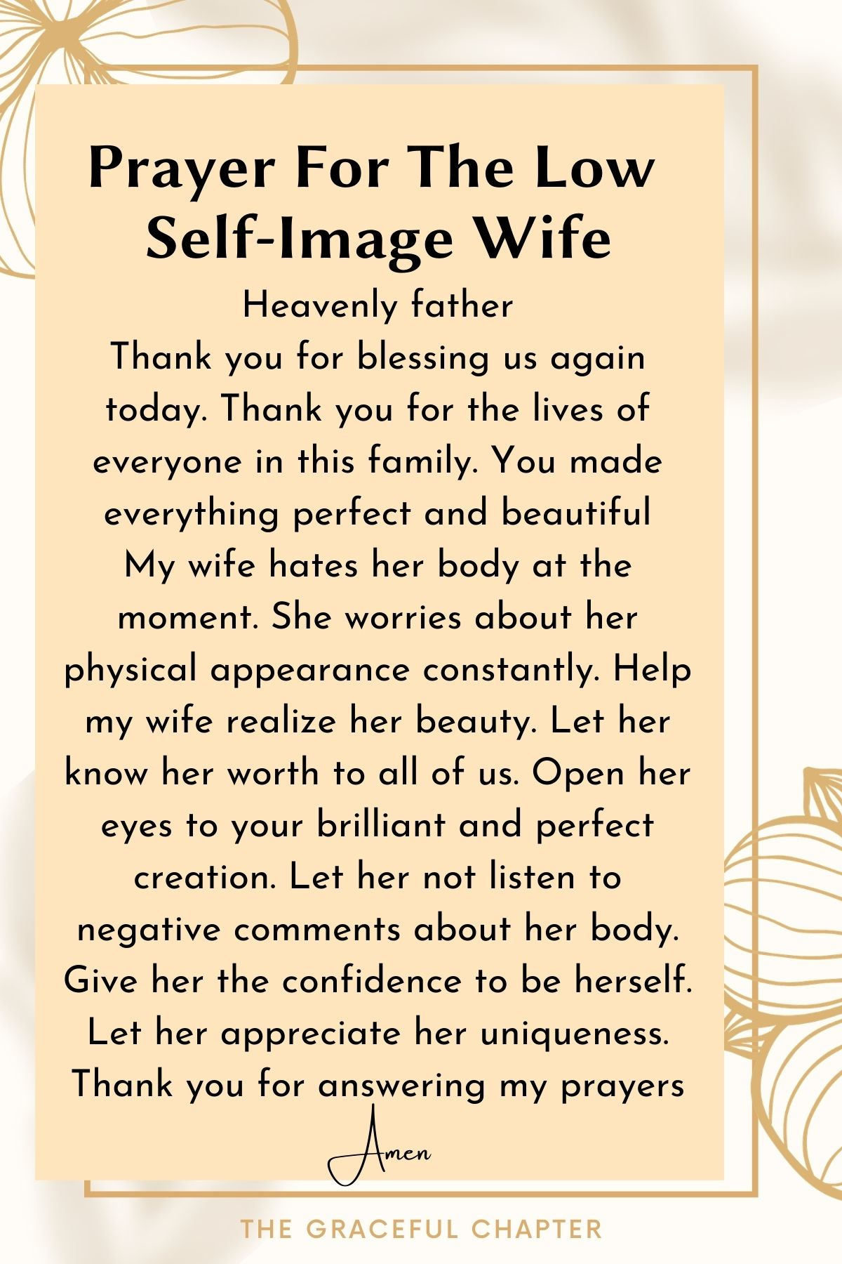 Prayer for the low self-image wife