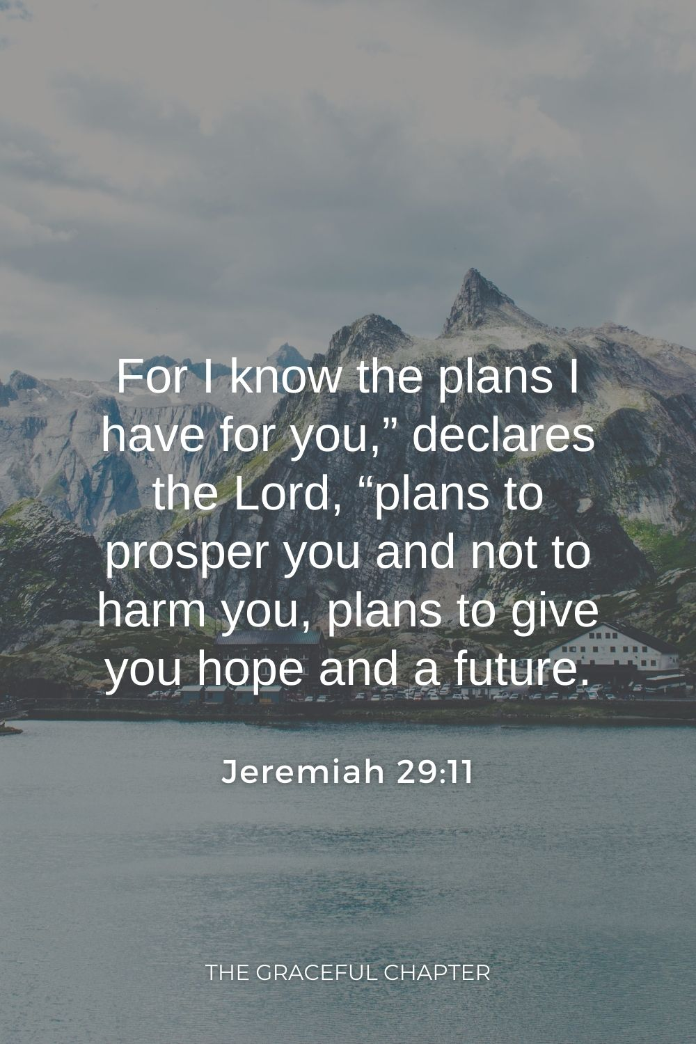 """For I know the plans I have for you,"""" declares the Lord, """"plans to prosper you and not to harm you, plans to give you hope and a future. Jeremiah 29:11"""