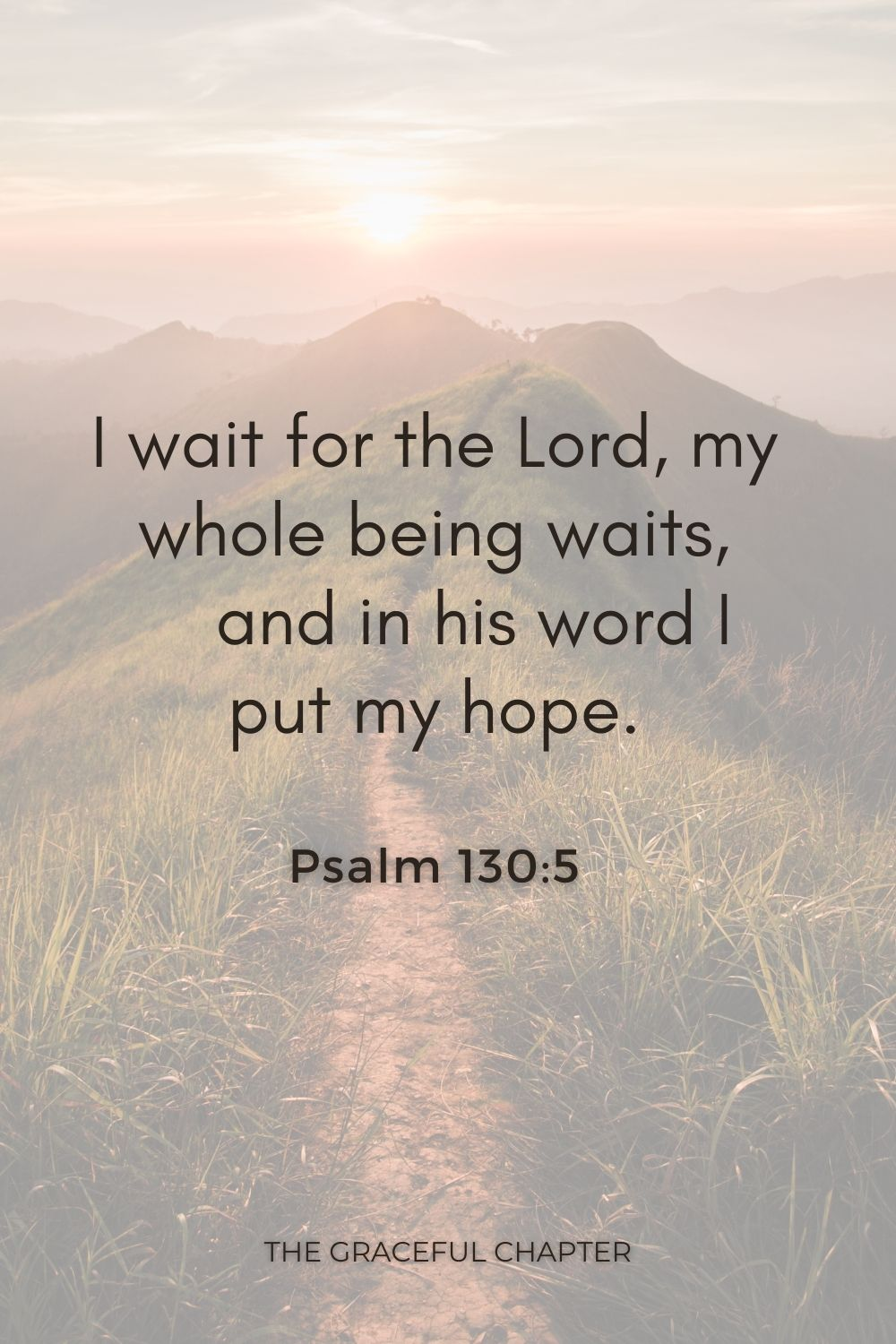 I wait for the Lord, my whole being waits,     and in his word I put my hope. Psalm 130:5
