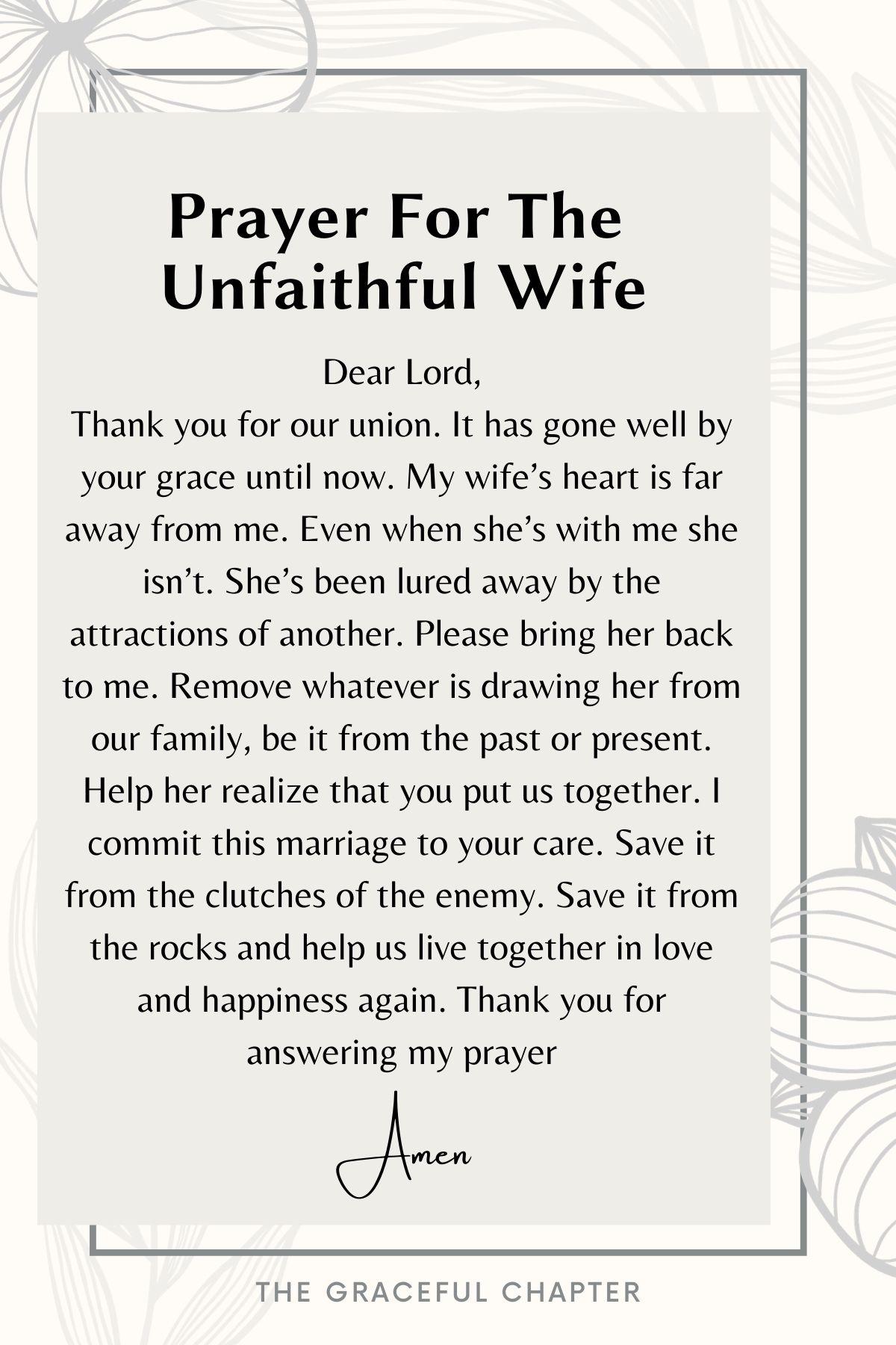 Prayer for the unfaithful wife