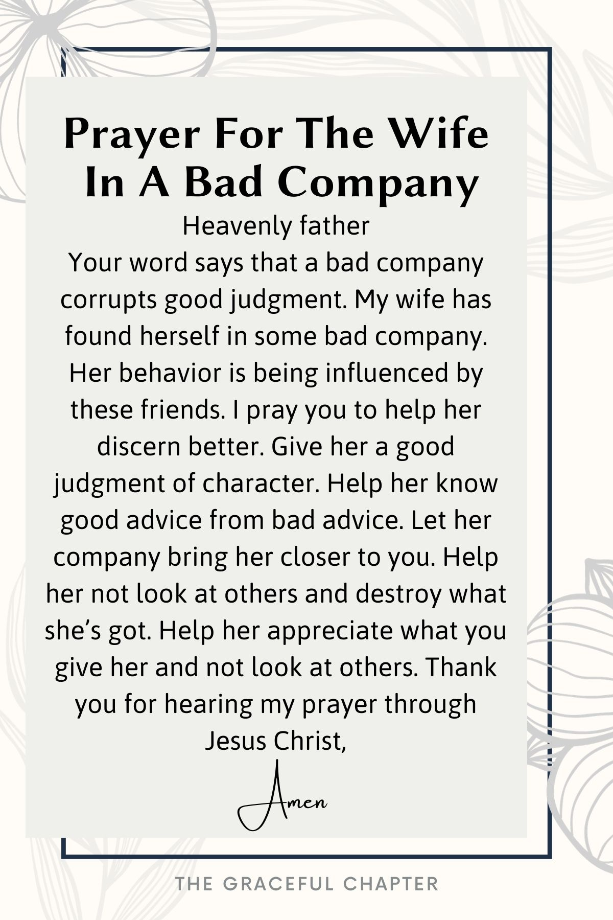 Prayer for the wife in a bad company