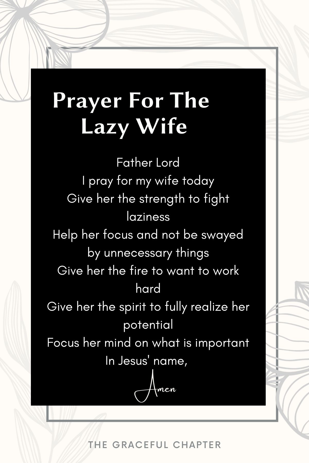 Prayer for the lazy wife